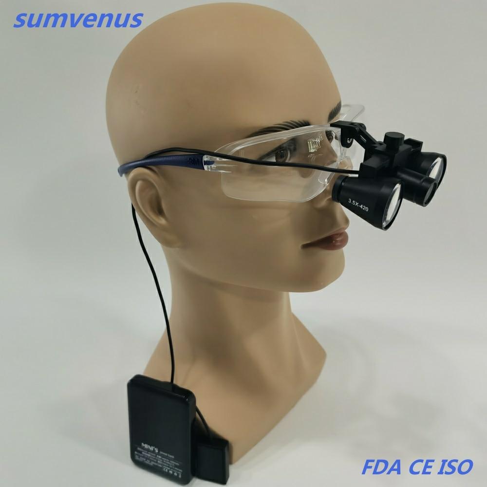 Super light Dental Medical  Surgical High Brightness LED Headlamp Headlight and 2.5X 3.5X Binocular Loupes Magnifier ENT