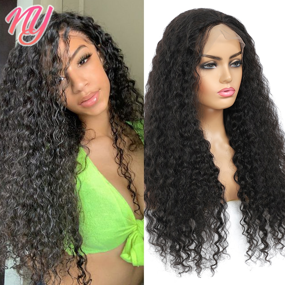 NY Official Natural Color Black 13*4*1 and 4*4 Deep Wave Lace closure Cheap affordable transparent Hair Wigs