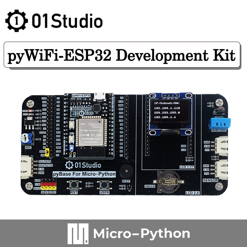 01Studio pyWiFi- ESP32 Development Demo Embedded Board Kit Compatble with MicroPython Programming Wireless IOT Moudule недорого