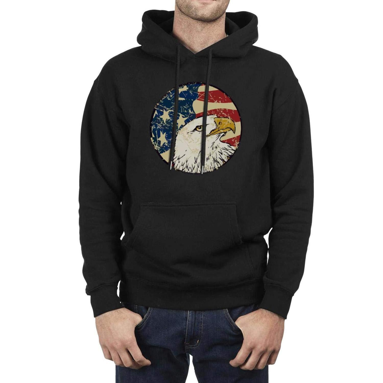 Mens Casual Hoodies Great Art Eagle American Flag Graphic Print Sweatshirt Cotton Comfort Kangaroo Pocket Sweaters gym