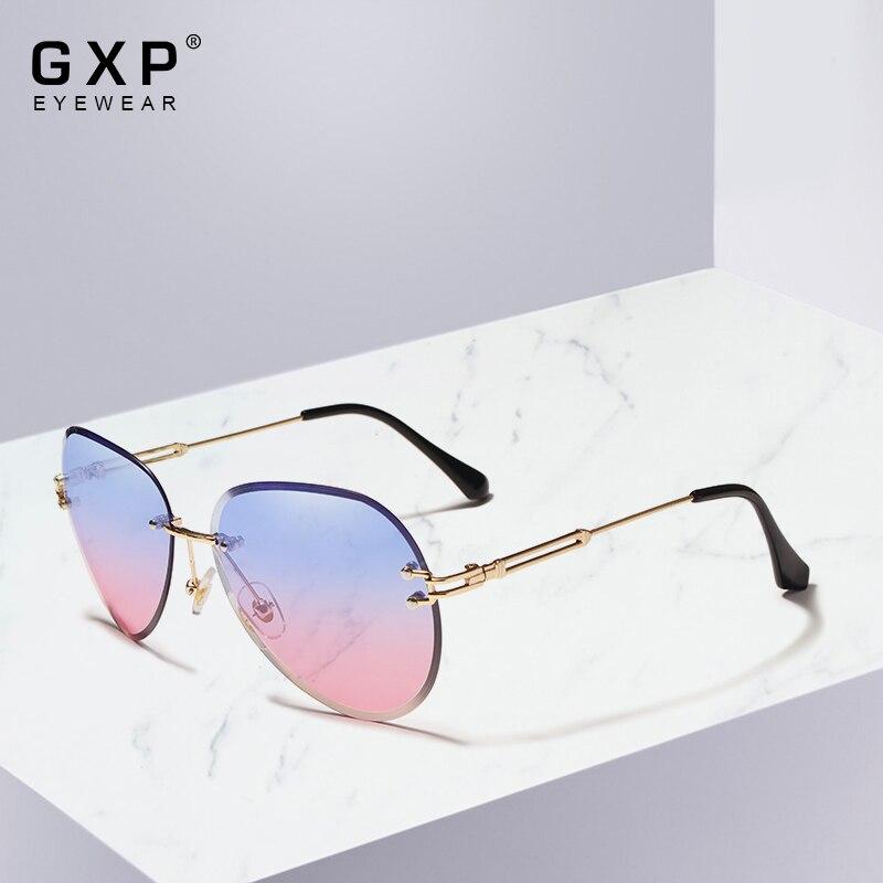 GXP DESIGN Women Rimless Pilot Sunglasses Blue Gradient Lens UV400 Protection
