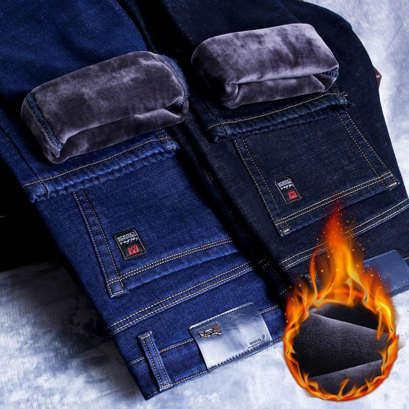 2021 Winter New Men's Warm Slim Fit Jeans Business Fashion Thicken Denim Trousers Fleece Stretch Brand Pants Black Blue