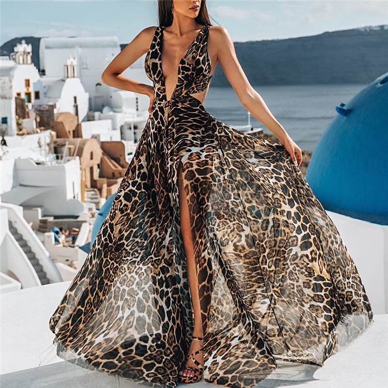 Vestido de playa para mujer, vestidos de verano para la playa, vestido largo para mujer, novedad de 2020, arnés Sexy, Túnica de poliéster y leopardo para mujer