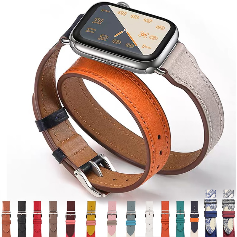 Genuine Leather Watch Strap for Apple Watch Band 6 SE 5 4 3 2 1 44MM 40MM Series 6 Watchband Bracelet 42MM 38MM for Iwatch Bands maikes new arrival genuine leather iwatch 44mm 40mm watch band for apple watch strap 42mm 38mm series 4 3 2 1 bracelet watchband