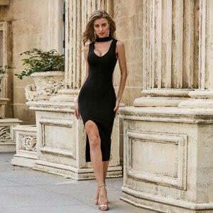 Solid Nude Summer Fashion Sexy O Neck Split Black Bodycon Women Bandage Dress 2020 Elegant Evening Party Dress Vestido