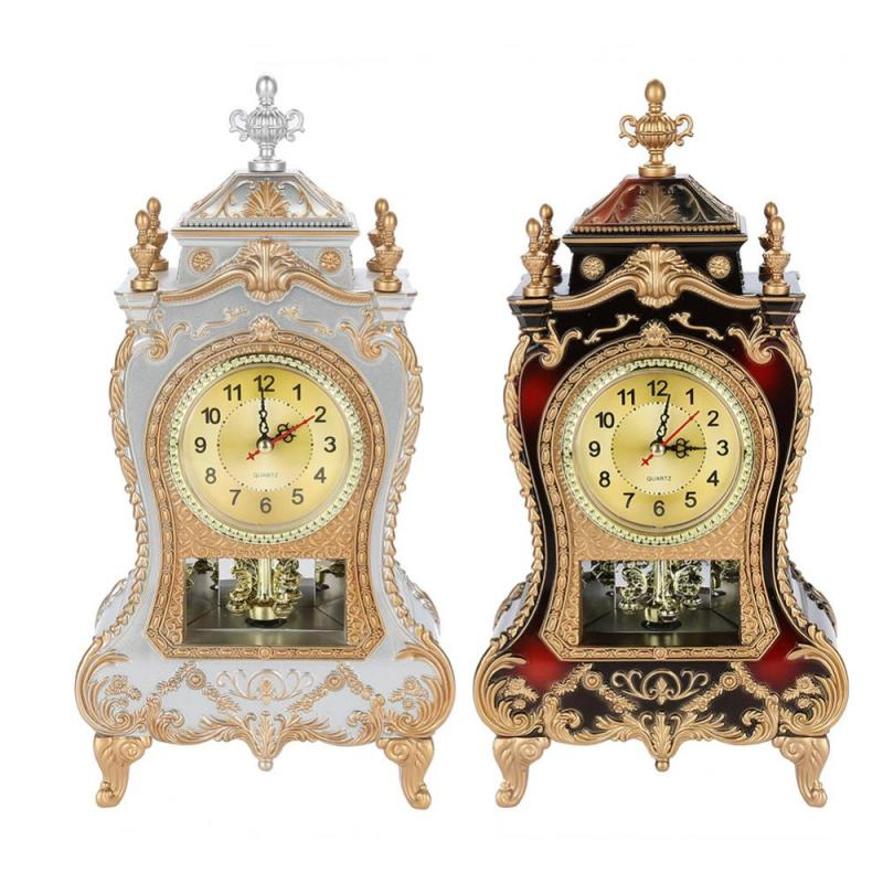 Desk Alarm Clock Vintage Clock Classical Royalty Sitting Room TV Cabinet Desk Imperial Furnishing Creative Sit Pendulum Clock