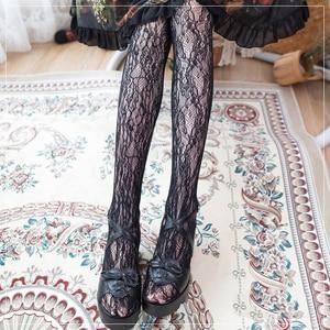 1 Pair Dark harajuku Lolita Flower Pattern Fabric Sexy Leggings Tight For Cosplay Stage Show Lolita Prop Romantic Goth Stockings