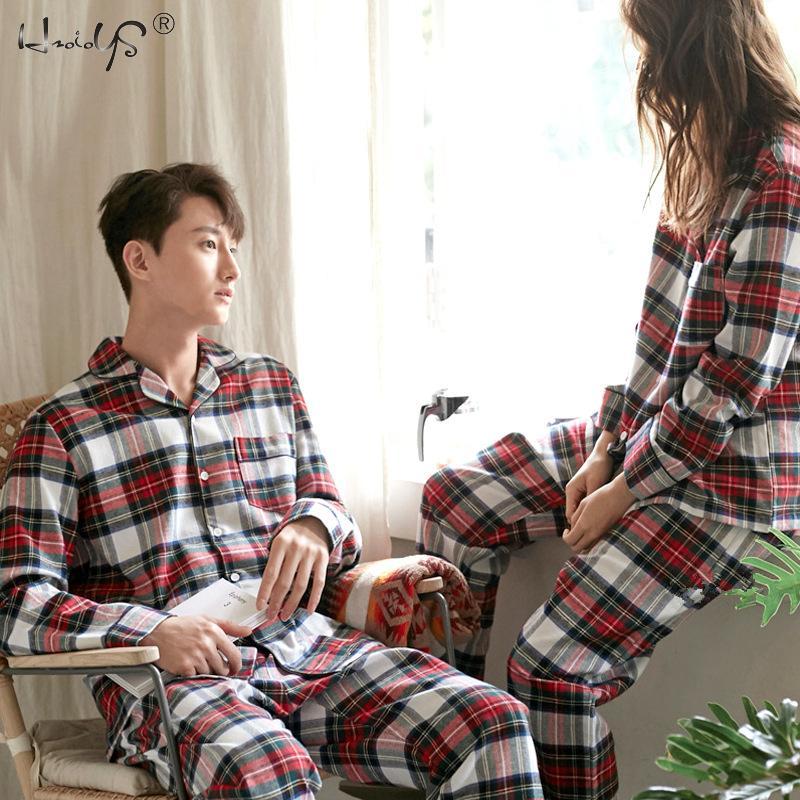 Impressão xadrez casal pijamas conjunto outono e winte quente algodão mulher e homem pijamas de manga comprida pijamas