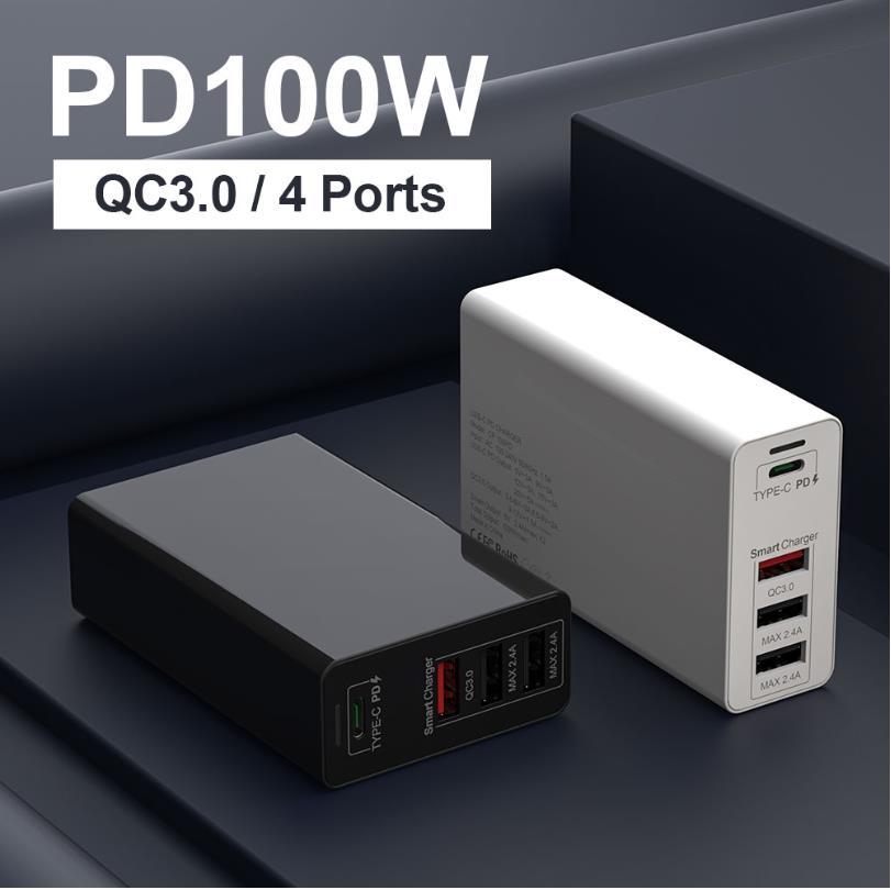 Адаптер питания URVNS, 100 Вт, 4 порта USB C, PD 100 Вт/87 Вт/65 Вт/45 Вт/30 Вт/18 Вт, Тип C, быстрое зарядное устройство для Macbook Pro 13/15/16, iPhone 8 11 XS XR-5
