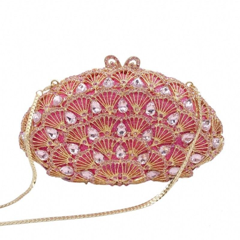 حقيبة يد نسائية مرصعة بالماس ، جيب كريستال وردي مرصع بالماس ، للولائم ، 21 × 12 سنتيمتر ، a6840
