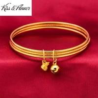 kissflower br171 fine jewelry wholesale fashion woman birthday calabash wedding gift round three laps 24kt gold bracelet bangle