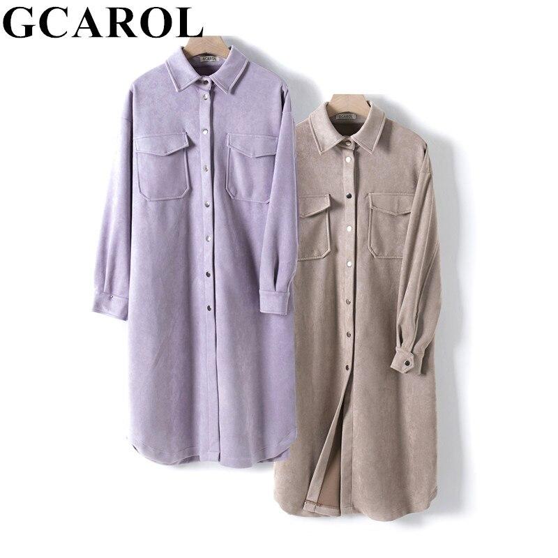GCAROL New Women Velvet Long Trench Drop Shoulder 2 Pockets Single-breasted Oversized Jacket Spring