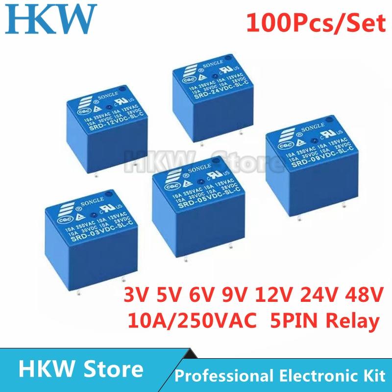 100 قطعة تتابع SRD-03VDC-SL-C SRD-05VDC-SL-C SRD-24VDC-SL-C SRD-12VDC-SL-C 3V 5V 6V 9V 12V 24V 48V 10A 250VAC 5PIN التبديلات ريلايس