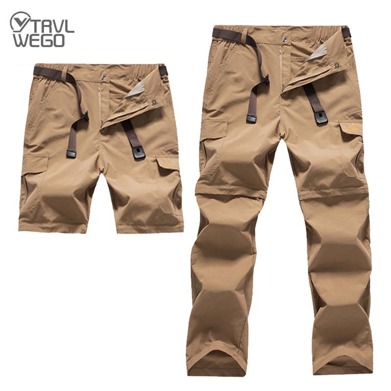 TRVLWEGO Hiking Pants Men Summer Anti-UV Quick Dry Trousers Fishing Shorts Climbing Trekking Camping Male Pants Outdoor Sport
