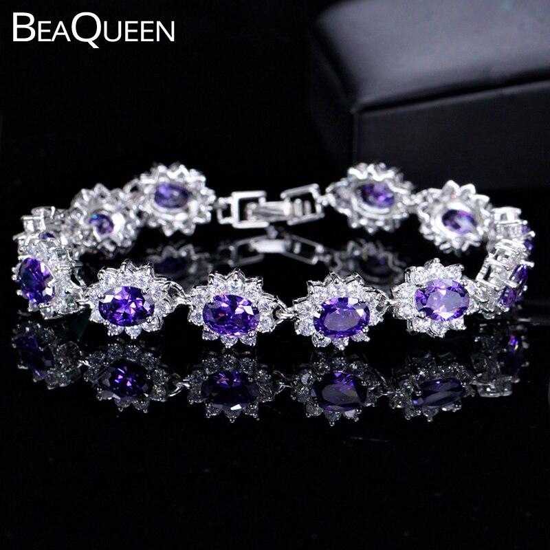 Beaqueen espumante grande oval roxo cristal austríaco cz pulseiras pulseiras mulheres na moda jóias presente romântico para a esposa b024