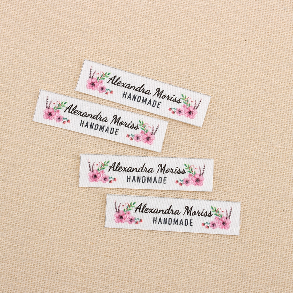 160pcs Ironing Labels, Logo or Text, Personalized Brand , Clothing Labels,  flowers, Custom Design, Fabric tags (TB3108)