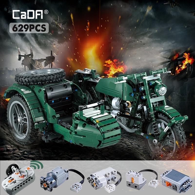 Cada 629 шт RC мотоциклы строительные блоки городской техники военный немецкий WW2 война Дистанционное управление автомобиль Кирпичи игрушки для детей