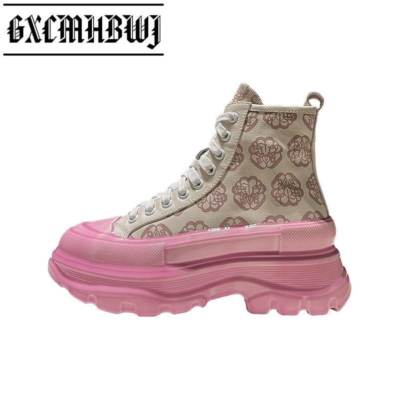 GXCMHBWJ 2021 عالية أعلى أحذية مفلكنة امرأة أحذية رياضية منصة أسافين قماش بتصميم قديم حذاء كاجوال الدانتيل يصل حذاء مريح النساء