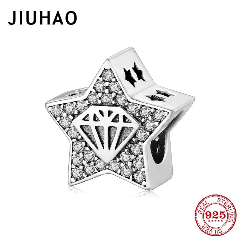 Moda 925 Plata de ley en forma de pentagrama con claro CZ encantos cuentas Ajuste Original JIUHAO pulsera auténtica joyería fina