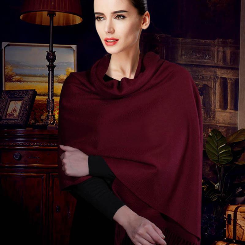 ★بروكيد بناء الشتاء المرأة تنوعا طويلة سميكة الكشمير وشاح مزدوج الوجه النبيذ الأحمر بلون شال