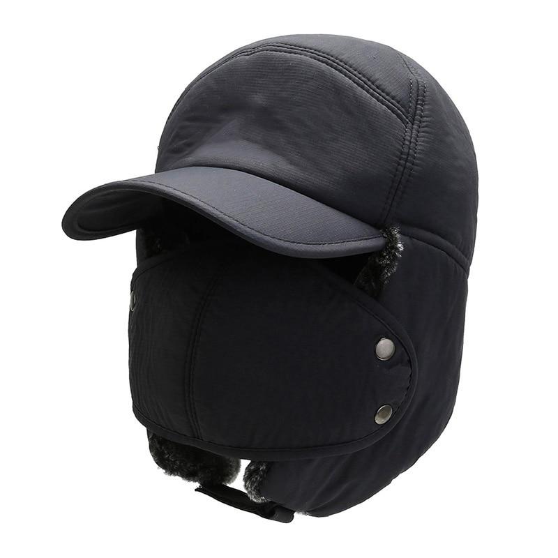 Men Women Winter Thermal Bomber Hats Head Protector Warm Furry Comfortable Adjustable Outdoor Riding Ski Cap Bomber Cap