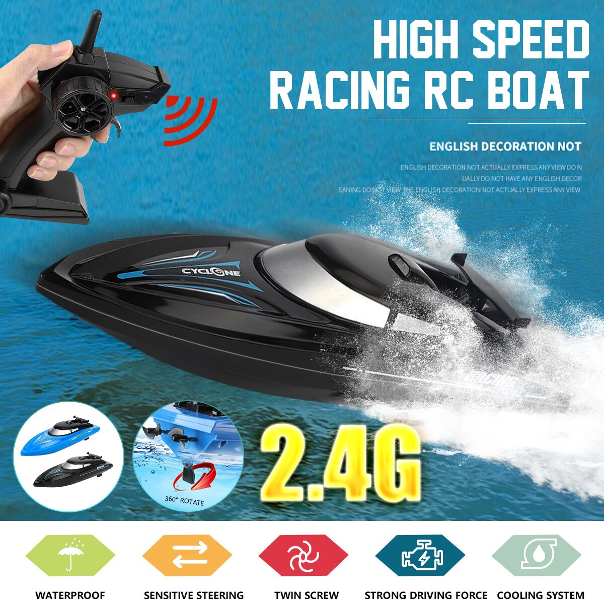 JJRC 2.4G 48KM/H Electric Racing RC Boat Ship Remote Control High Speed Kids Child Toys Gift Water S