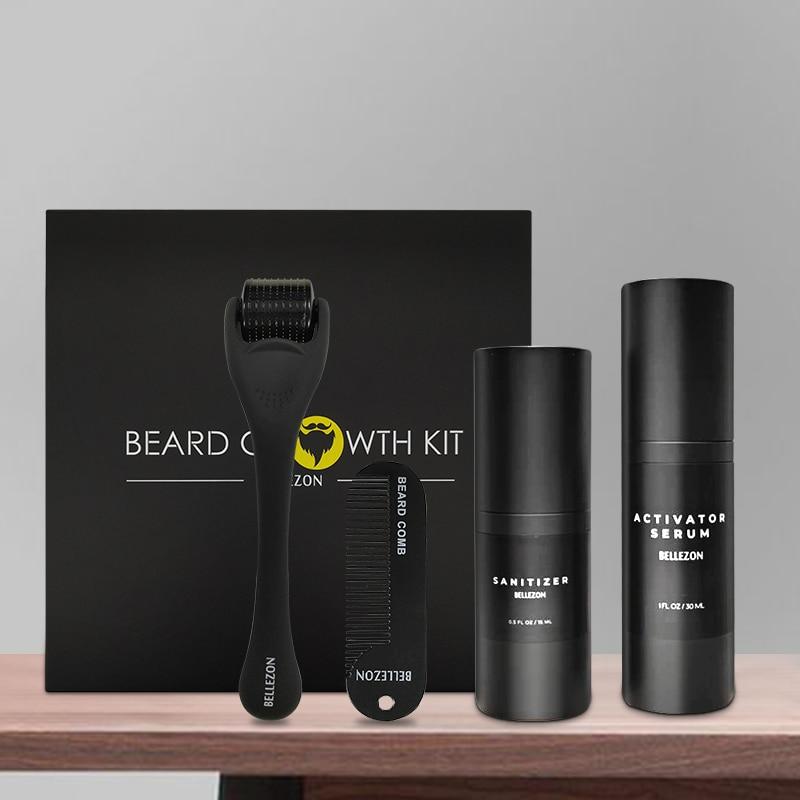 Growth Enhancer Set Beard Growth Kit Nourishing Growth Essential Oil Facial Beard Care Kit with Comb 4 Pcs/set