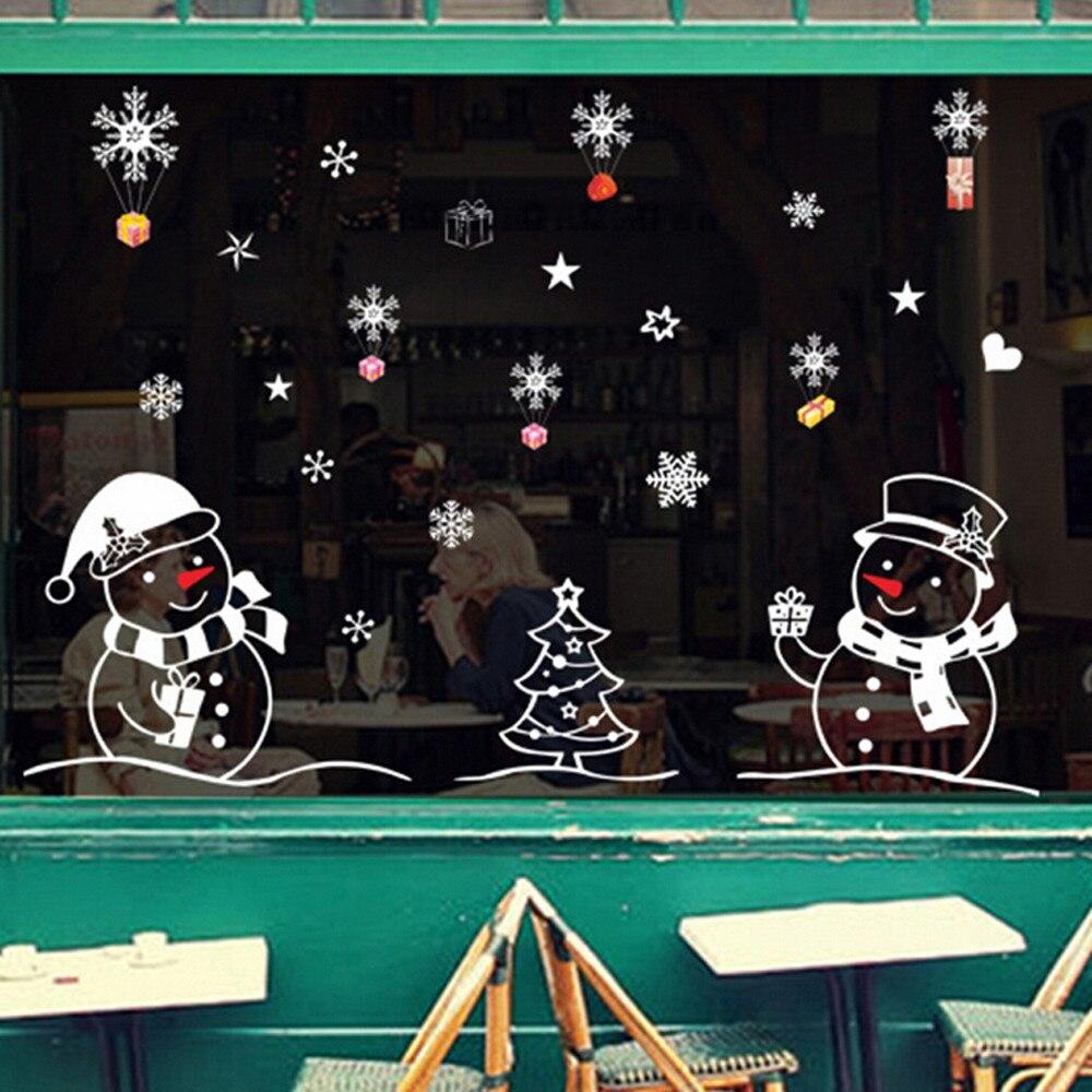 Natal boneco de neve removível casa vinil janela adesivos de parede decalque decoração venda quente natal transparente papel de parede #30