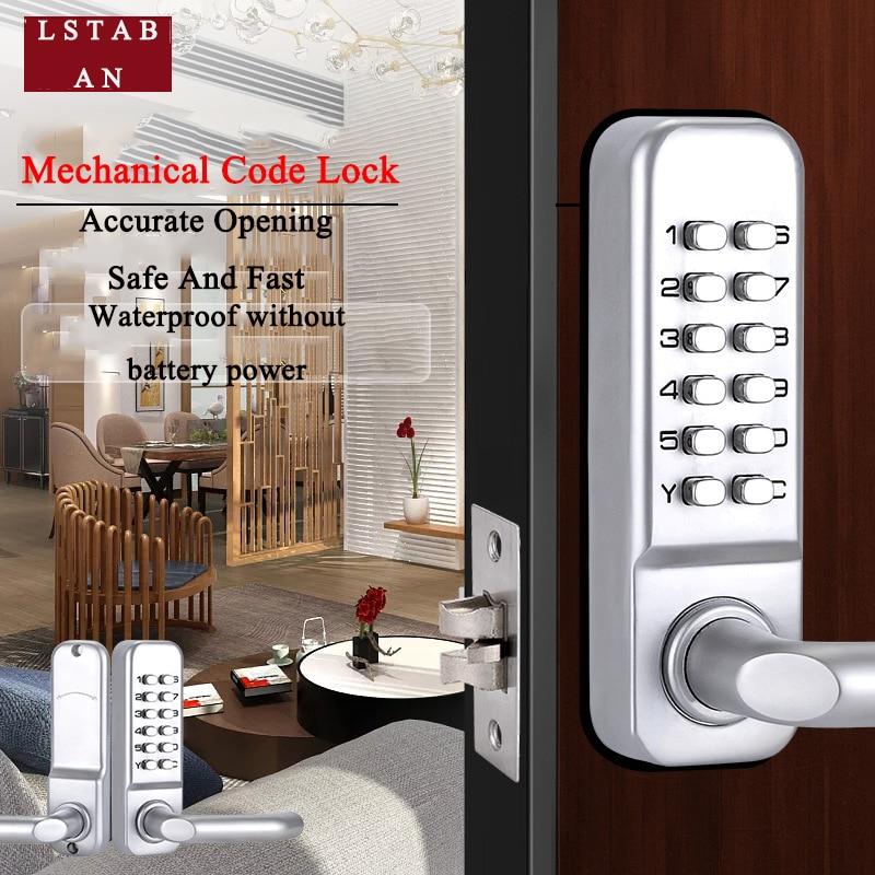 LSTABAN مقبض طويل ميكانيكي رقمي للباب قفل بكلمة مرور لوحة مفاتيح المنزل حديقة ساحة خشبية قفل البوابة الحديدية زر الضغط