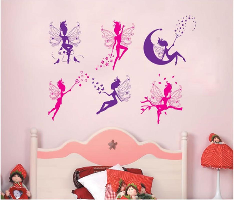 De dibujos animados seis adhesivo para pared de hada para niños niñas casa decoración para habitación bricolaje arte calcomanías de fondo decoración lindo pegatinas de elfo