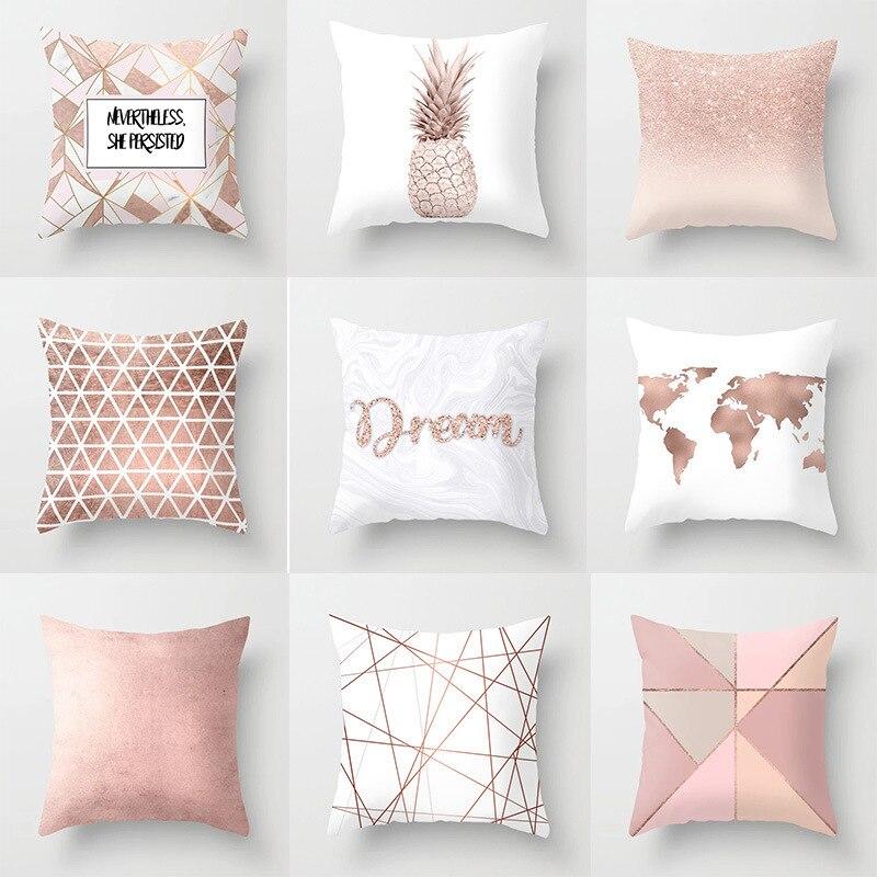 Almohada rosa dorada rosa suave sensación cuadrada almohada de viaje para la boda dormitorio sala de estar cojín 45x45cm