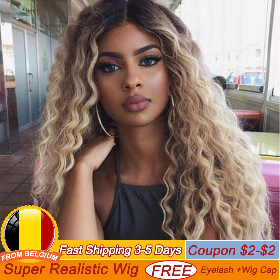 BELLA Lace Front Wigs Deep Wave Long Hair Synthetic Lace Front Wig Blonde Brown 9 Colors Available 3