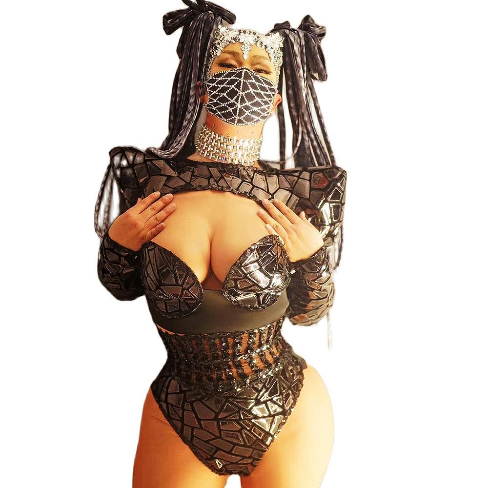 ساطع أسود مرآة النساء ارتداءها طويلة الأكمام عارية الذراعين الشاش منظور بذلة ملهى ليلي المغني تظهر ارتداء DS ملابس رقص