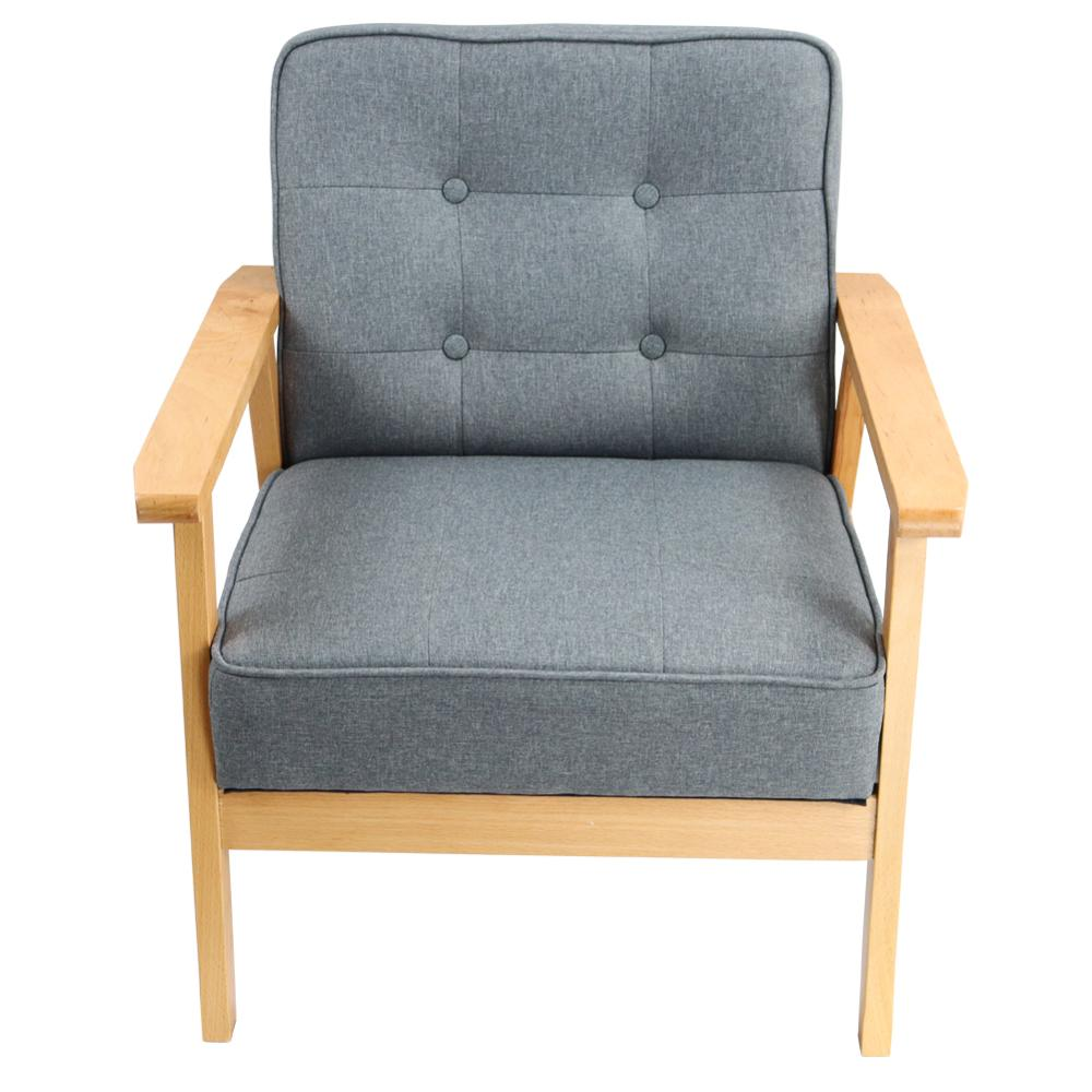 Kkink الرجعية الحديثة صالة النسيج كرسي خشبي غرفة المعيشة غرفة نوم دراسة شرفة كرسي (رمادي)
