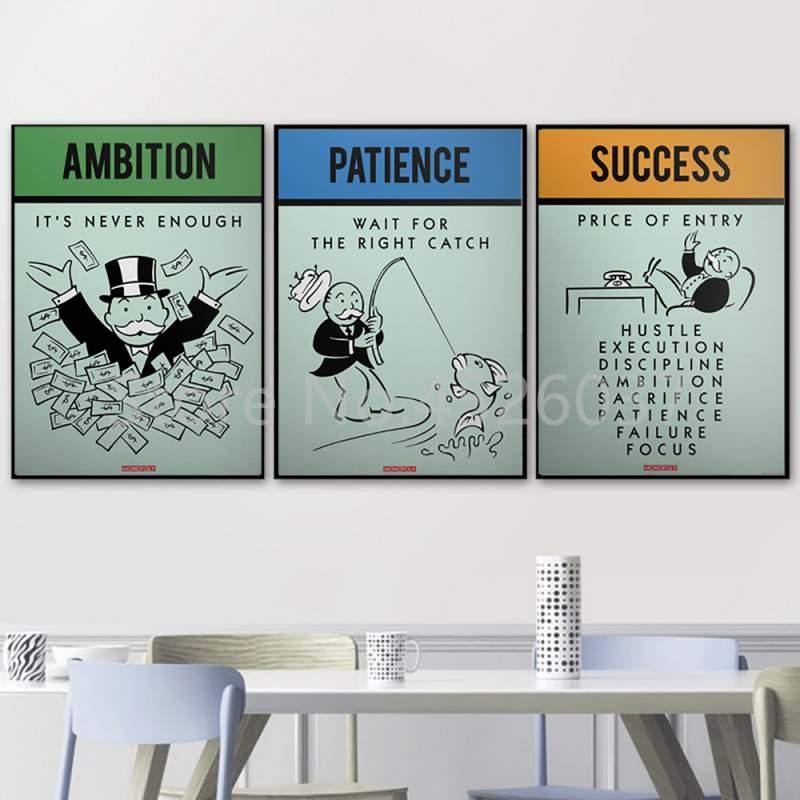 Álek monopolies inspiración éxito Ambition paciencia lienzo Poster pared arte pintura HD imagen impresión decoración de sala de oficina