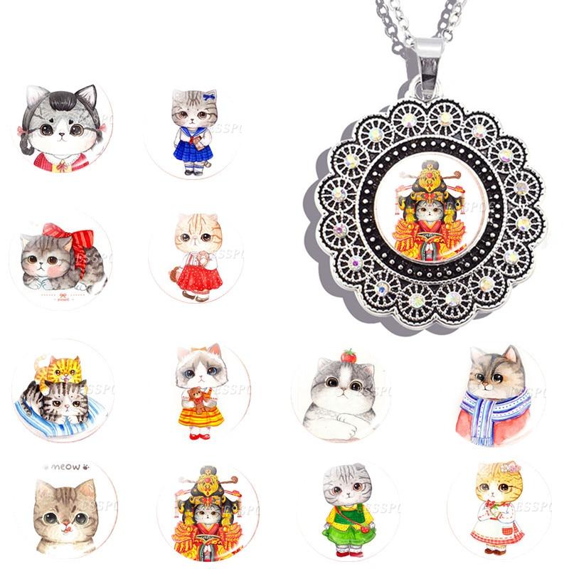 Comic Tier Cartoon Nette Katze Halskette Schöne Katze Foto Glas Cabochon Metall Anhänger Halskette Geschenk Für Sie Freundin Tochter