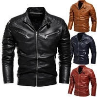 mens new leather jacket patchwork casual zipper slim fit coat male youth motorcycle pu leather brushed outwear color matching