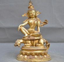 Tibet bouddhisme bronze doré assis Pixiu bête Tara kwan-yin Guanyin bouddha statue