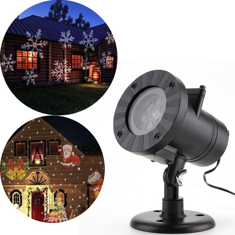 Led 12 Patroon Kerst Laser Sneeuwvlok Projector Outdoor Waterdichte Disco Lichten Thuis Tuin Ster Licht Indoor Decoratie Lamp enlarge