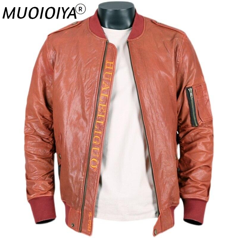 الرجال سترة جلد الغنم الخريف والشتاء ضئيلة دراجة نارية سترة جلدية مع جيوب معطف جلد الغنم