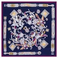 wholesale luxury brand design square scarf gemstone twill silk scarf women scarves kerchief for ladies fashion shawl echarpe