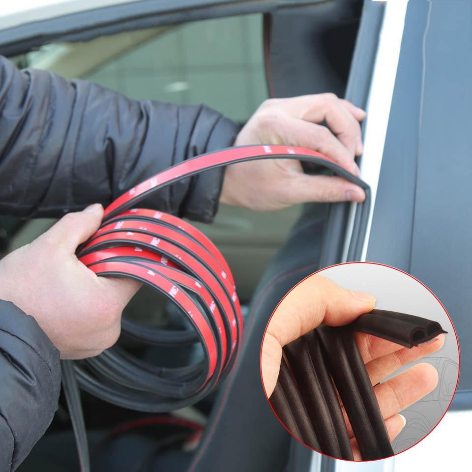 4/5 Meters Car Door Seal Strips Sticker B Shape Car Door Sealing strip Soundproof Dustproof Weatherstrip Rubber Seals