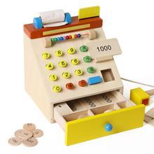 Kuulee Children Supermarket Wood Simulation Cash Register Checkout Counter Pretend Game Toys