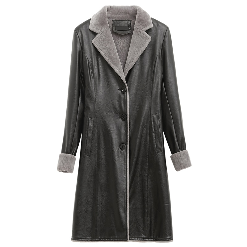 Autumn Winter Leather Jacket Women Fur Coats Hooded Long Pu Leather Trench Coat Plus Size 4XL Thicken Warm Faux Leather Jackets enlarge