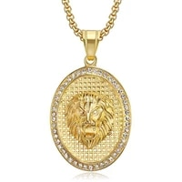 punk gothic red eyes lion head pendant retro stainless steel men necklaces fashion jewelry for women girls bulk items wholesale