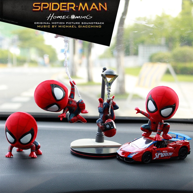 car ornaments nodding lovely resin shaking head interior decorations accessories for vehicle decorating cars Spiderman Car Shaking Head Doll Interior Decoration Marvel Auto Interior Decoration Car Goods Automotive Interior Accessories