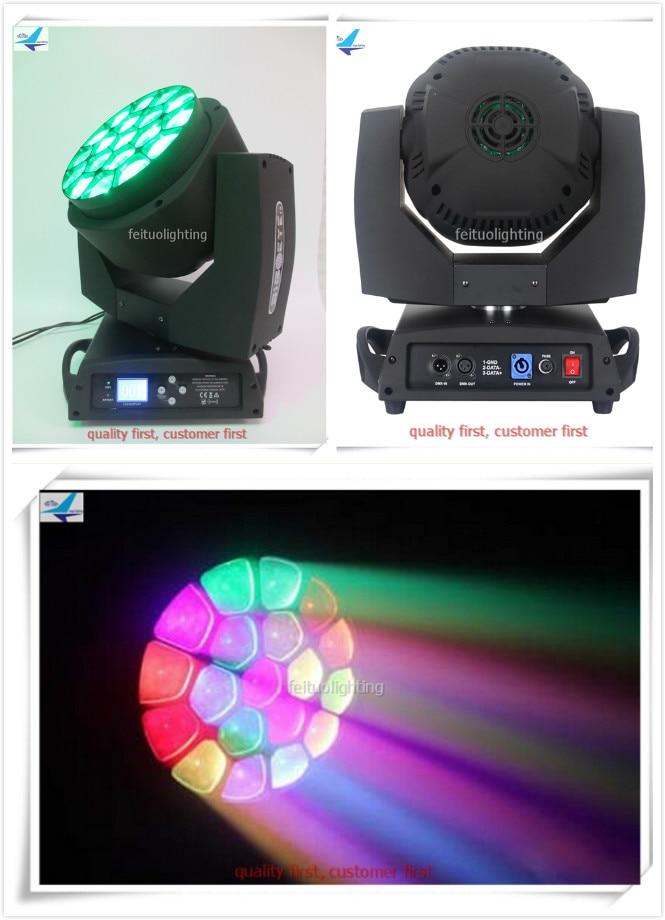 Gran haz led dmx cabeza móvil iluminación 19x15w Ojo de abeja zoom led haz móvil cabeza rgbw caja de vuelo
