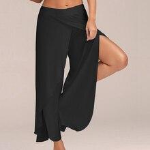 2019 Summer Chiffon Wide Leg Pants Women Causal Irregular Side Split Trousers Female Solid Elastic Waist Loose Pants