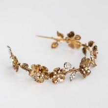 Vintage or fleur femmes couronne mariée tiare bandeau à la main strass mariage bal cheveux accessoires