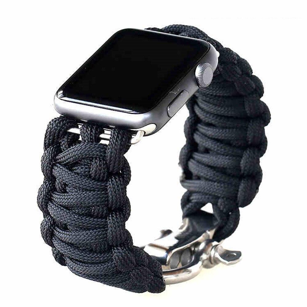 Correa de nailon para Apple watch, 5 bandas, 44mm, 40mm, correa para iWatch, 42mm, 38mm, pulsera deportiva de supervivencia para exteriores, reloj Apple, 4, 3, 2, 1, 44
